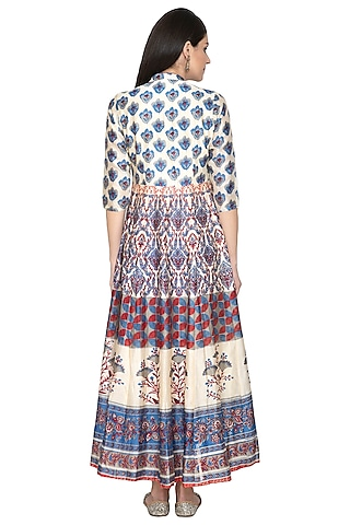 Multi Colored Printed Anarkali by Vasansi Jaipur