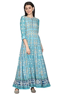 Blue Silk Printed Anarkali by Vasansi Jaipur