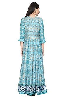 Blue Digital Printed Silk Anarkali by Vasansi Jaipur