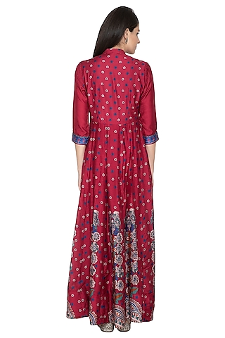 Maroon Printed Silk Anarkali by Vasansi Jaipur