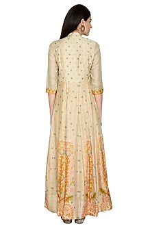 Yellow Printed Silk Anarkali by Vasansi Jaipur