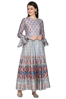 Multi Colored Printed Silk Anarkali by Vasansi Jaipur