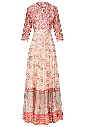 Off White Orange Block Printed Anarkali Gown by Vasansi Jaipur