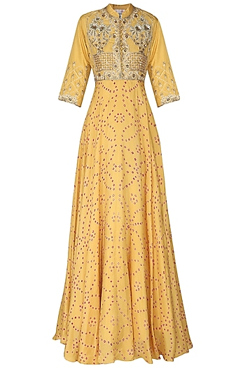 Mustard Yellow Badhej Embroidered Anarkali Gown by Vasansi Jaipur