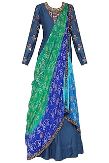 Blue Embroidered Anarkali Gown with Drape Dupatta by Vasansi Jaipur