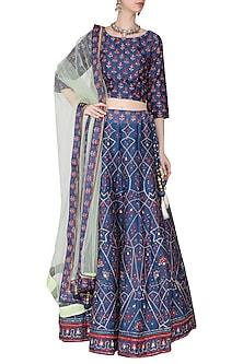 Blue and Mint Green Embellished Lehenga Set by Vasansi Jaipur