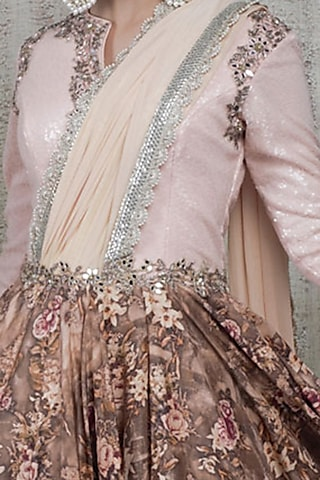Baby Pink Sequins & Hand Embroidered Dress by Vikram Phadnis