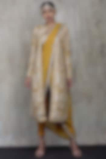 Mustard & Beige Hand Emboidered Saree Set by Vikram Phadnis