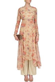 Beige Floral Print Asymmetric Kalidaar and Shimmer Pants Set by Vikram Phadnis