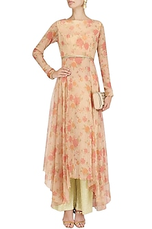 Peach Floral Print Asymmetric Kalidaar and Shimmer Pants Set by Vikram Phadnis