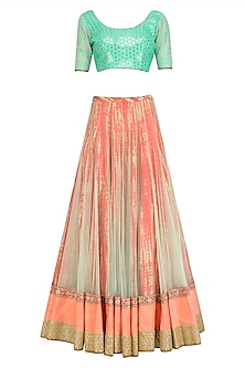 Aqua Sequins Blouse and Tie Dye Embroidered Lehenga Set by Vikram Phadnis