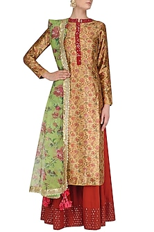 Floral Printed Straight Fit Kurta with Palazzos Set by Vikram Phadnis