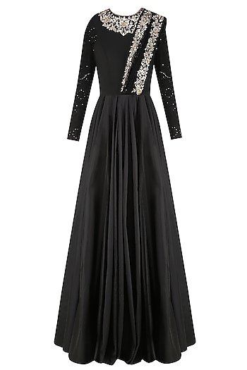 Black Floral Embroidered Anarkali Gown with Attached Dupatta by Vikram Phadnis