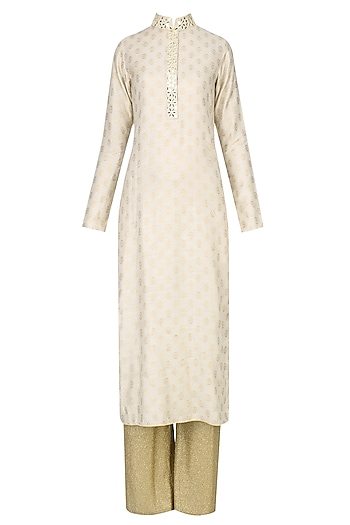 Beige Brocade Motifs Kurta and Gold Pants Set by Vikram Phadnis