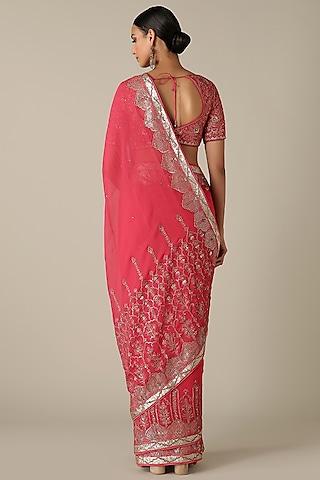 Red Embroidered Saree Set by Varun Nidhika