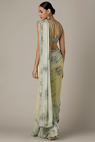 Sea Green & Buttercup Yellow Embroidered Ombre Saree Set by Varun Nidhika