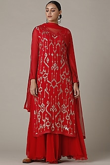 Red Sequins Embroidered Sharara Set by Varun Nidhika