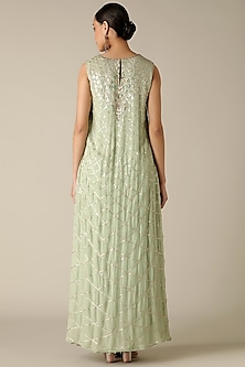 Sea Green & Dusty Blue Embroidered Kurta by Varun Nidhika