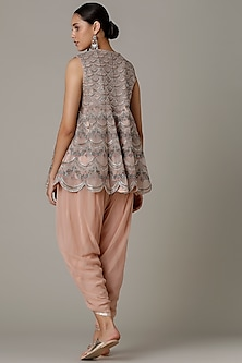 Peach Embroidered Kurta With Dhoti Pants by Varun Nidhika