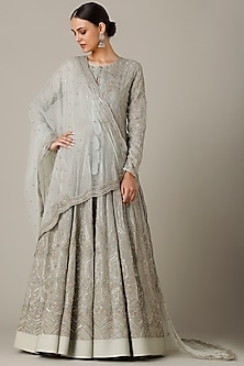 Dusty Blue Embroidered Anarkali With Dupatta by Varun Nidhika
