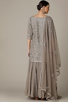Grey Embroidered Sharara Set by Varun Nidhika