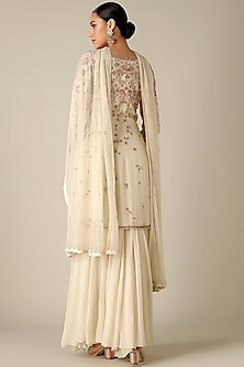 Ivory Floral Embroidered Sharara Set by Varun Nidhika