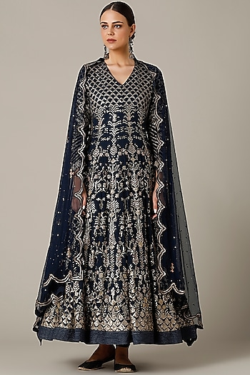 Navy Blue Embroidered Anarkali Set by Varun Nidhika