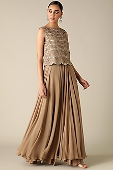 Pewter Green Embroidered Crop Top Dress by Varun Nidhika