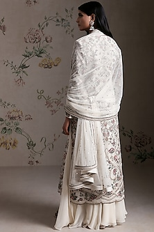 Ivory Hand Embroidered Sharara Set by Varun Nidhika