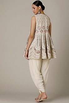 Ivory Embroidered Kurta With Dhoti Pants by Varun Nidhika