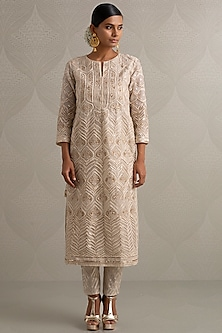 Ivory Embroidered Kurta Set by Varun Nidhika
