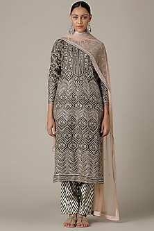 Olive Green Embroidered Kurta Set by Varun Nidhika
