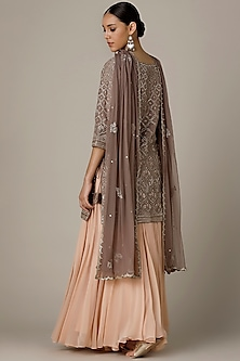 Stone Brown & Peach Embroidered Kurta Set by Varun Nidhika