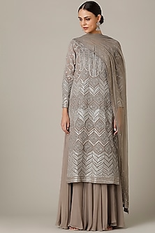 Grey Embroidered Kurta Set by Varun Nidhika
