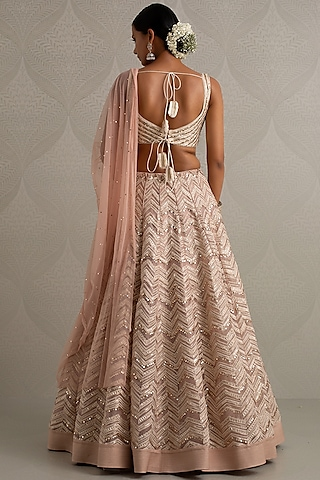 Peach Floral Embroidered Lehenga Set by Varun Nidhika