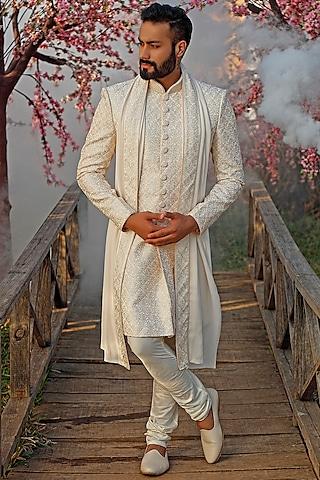 Pearl White Embroidered Sherwani Set With Dupatta by Vanshik
