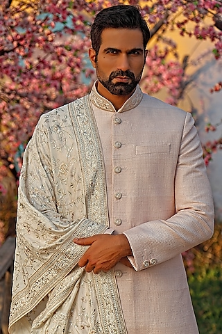 Dull Rose Textured Sherwani Set With Dupatta by Vanshik
