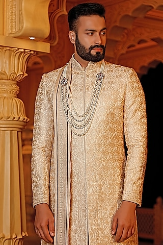 Light Gold Embroidered Sherwani Set With Dupatta by Vanshik