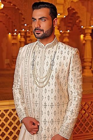 Cream Embroidered Sherwani Set by Vanshik