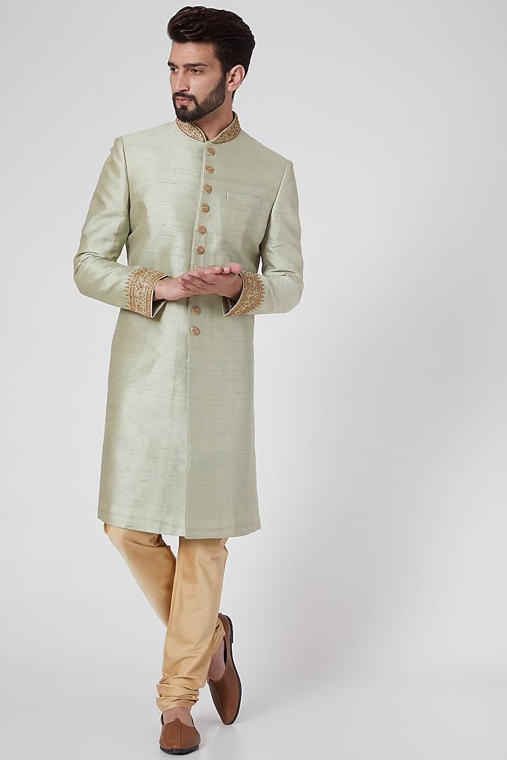 Mint Green Sherwani Set by Vanshik