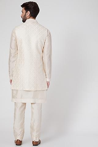 Pearl White Kurta Set With Embroidered Bundi Jacket by Vanshik