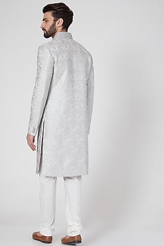 Grey Sherwani Set With Thread Work by Vanshik