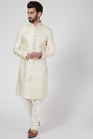 Blush Pink Blend Silk Sherwani Set by Vanshik