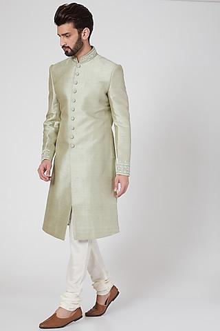 Mint Green Matka Silk Sherwani Set by Vanshik