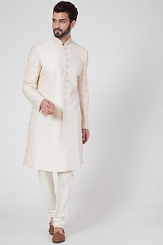Beige Blended Silk Sherwani Set by Vanshik