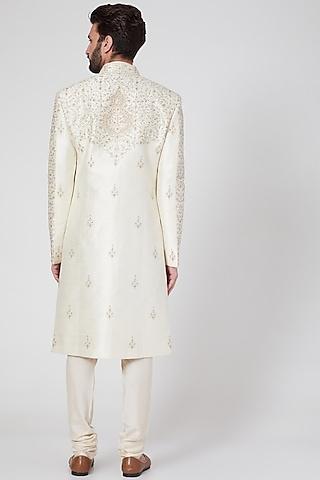White Blended Silk Sherwani Set by Vanshik