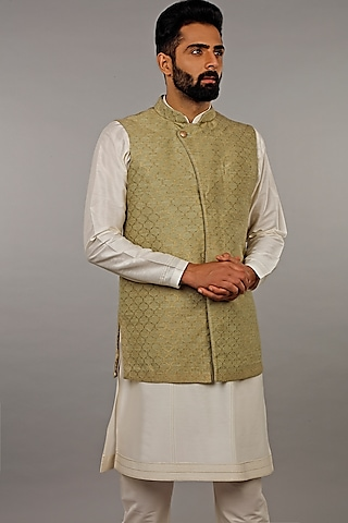 Mint Kurta Set With Jacket by Vanshik
