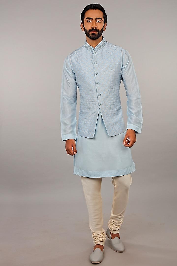 Blue Embroidered Aligarhi Kurta Set by Vanshik