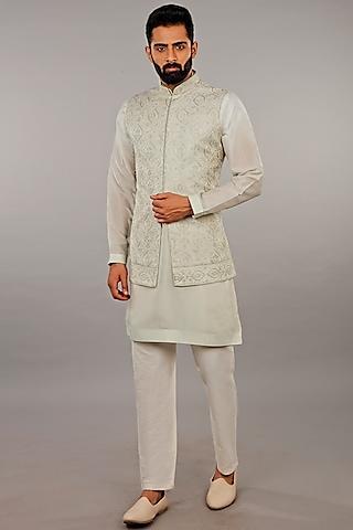 Mint Embroidered Jacket Set by Vanshik