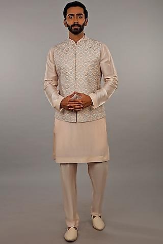 Grey 3D Printed Bundi Jacket Set by Vanshik